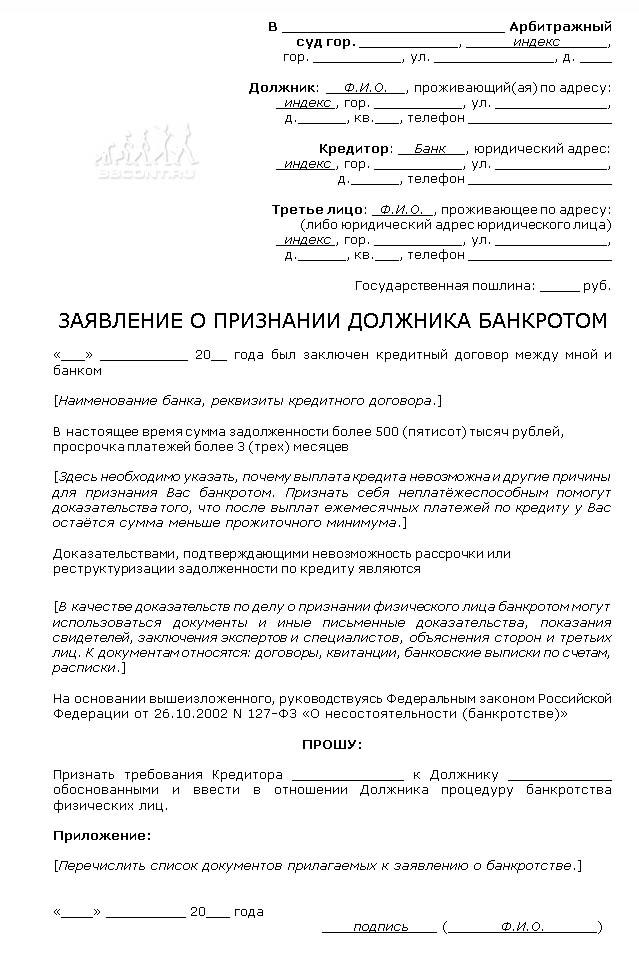 банкротство физ лиц документы к заявлению